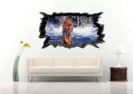 Colorful Bengal Tiger Walking On The 3d Wall Decal Nursery Vinyl Decal Sticker Ebay