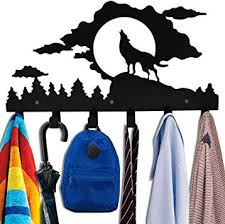 Amazon Com Animal Wolf Moon Cloud Forest Design Cute Metal Bag Hanger Wall Mounted Coat Rack Heavy Hooks Black Home Improvement