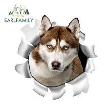 X2 Siberian Husky Car Sticker Torn Metal Vinyl Decal Reflective Sticker Animal Car Styling Pet Dog Decals Select Size Wish