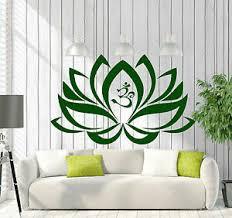Vinyl Decal Wall Sticker Lotus Flower Om Yoga Buddha Decoration M658 Ebay