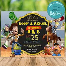 Invitaciones De Cumpleanos Para Imprimir De Toy Story Boy And Girl
