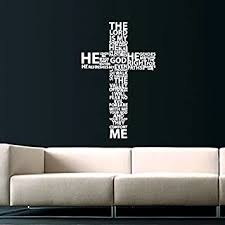 Cross Jesus Christ Wall Decal Religion Prayer Writing Decals Wall Vinyl Sticker God John Psalm Quote
