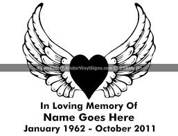 Heart With Angel Wings Memorial Angel Memorial Vinyl Window Decals In Loving Memory Of Car Truck Stickers