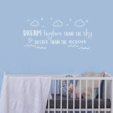Nursery Quotes Wall Stickers Baby Boy Room Decor Vinyl Wall Decal Dream Higher Than The Sky Clouds Decals Bedroom Poster S744 Wish