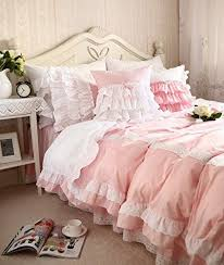 cute korean girls bedding set white