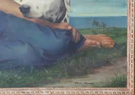 "Elmer Wesley Greene - Elmer Wesley Greene Jr. Oil on Canvas ""Portrait of a  Young Girl and Her Dog"" | Rafael Osona Auctions Nantucket, MA"