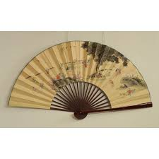 Vintage 72 Large Chinese Hand Painted Fan Wall Decoration Chairish