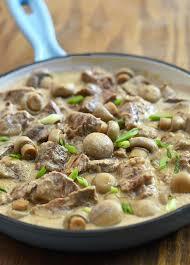 beef in creamy mushroom sauce