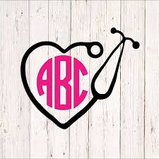 Nurse Vinyl Decal Perfect For Yeti Cars Trucks Lockers Windows Phone Cases Laptops Mailboxes G Initials Decal Monogram Vinyl Decal Nurse Monogram Decal