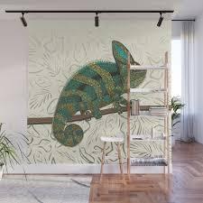 Veiled Chameleon Pearl Wall Mural By Sharonturner Society6
