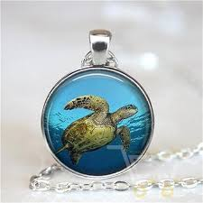 glass sea turtle necklace