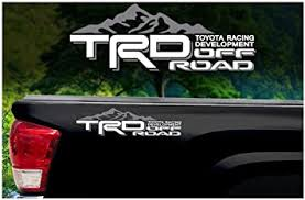 Amazon Com Noa Store Compatible With Toyota Trd Truck Mountain Off Road 4x4 Racing Tacoma Decal Vinyl Sticker Pair Of 2 White Grey Automotive