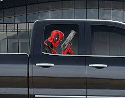 Vinyl Car Window Full Color Graphics Decal Deadpool With Gun Sticker Ebay