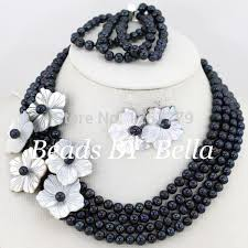 gorgeous 4 rows pearl beads jewelry set