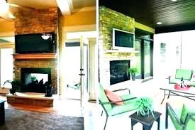 two sided fireplace inside outside