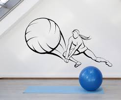 Vinyl Wall Decal Sport Beach Volleyball Ball Girl Player Woman Stickers Unique Gift 1301ig Sports Wall Decals Vinyl Wall Decals Wall Stickers Sports