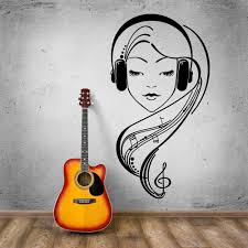 Hot Vinyl Wall Decal Beautiful Girl Music Lover Headphones Wall Stickers Modern Removable Home Decoration Kw 165 Home Decor Vinyl Wall Decalswall Decals Aliexpress