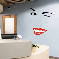 Red Sexy Lips Women Smile Face Wall Decal Eyelashes Vinyl Wall Stickers For Beauty Salon Sofa Background Wall Decor Mural Lc469a Wall Stickers Aliexpress
