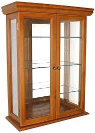 display case with glass doors wooden