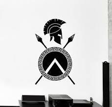 Vinyl Wall Decal Military Spear Shield Helmet Spartan Warrior Stickers G1285 Ebay
