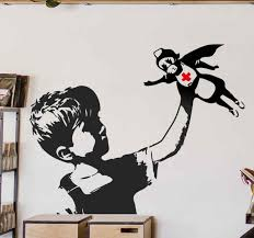 Superhero Banksy Nurse Wall Art Sticker Tenstickers