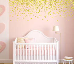 Gold Polka Dot Wall Decals Pink And Gold Nursery Gold Decals Vinyl Stars Nursery Decals Girl Girl Nursery Wall Gold Nursery Decor