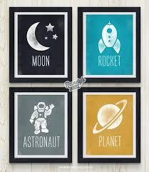 Space Art Kids Boys Room Decor Astronaut Rocket Planet Etsy Boy Room Art Space Themed Room Boys Space Room