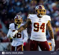 Landover, MD, USA. 21st Oct, 2018. Washington Redskins LB #94 Preston Smith  during a NFL football game between the Washington Redskins and the Dallas  Cowboys at FedEx Field in Landover, MD. Justin