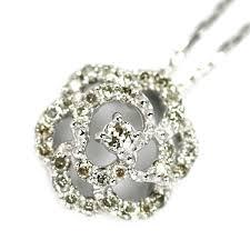 k18wg diamond flower pendant necklace