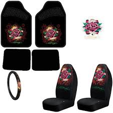 Very Cheap Interior Accessories Discount Ed Hardy Dedicated To The One I Love Design Auto Accessories Interior Package Front Rear Carpet Floor Mats Front Bucket Seat Covers Steering Wheel Cover