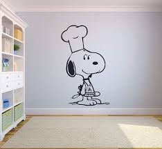 Amazon Com Snoopy Wall Decals For Kids Bedroom Snoopy Dog Boys Room Decor Vinyl Art Stickers Decal Childrens Rooms The Peanuts Movie Cartoon Character Fun Look Dogs Snoopy Chef Cooking