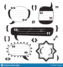 black funky modern blank and empty block quotes icons set design