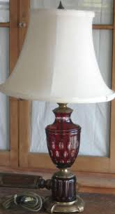 ruby red and clear cut glass table lamp