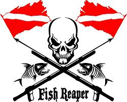 Fish Reaper Skull Diver Flag Speargun Car Boat Truck Window Vinyl Decal Sticker Pesca Submarina Tatuagem De Pescador Mergulho