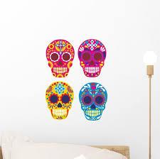 Bright Mexican Sugar Skull Wall Decal Sticker Set Wall Decal Wallmonkeys Com