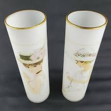 enesco gold gilded frosted glass vase