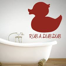 Rub A Dub Duck Silhouette Bathtub Vinyl Wall Decal For Kids Bathroom Customvinyldecor Com