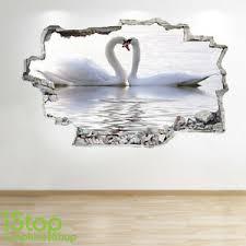 Swan Lake Wall Sticker 3d Look Bedroom Lounge Swan Love Lake Wall Decal Z253 Ebay