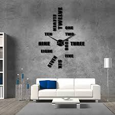 Large English Letters Number Wall Clock Wall Clock Diy Modern Design Home Accessories Decoration Giant Wall Clock Without Fence Gold 37 Inch 47 Inch Black Amazon Co Uk Kitchen Home