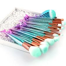 16pcs mermaid makeup brushes set fish