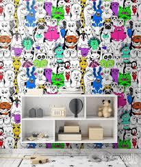 Animals Wallpaper Kids Room Wallpaper Pop Art Style Etsy