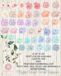 Wall Decal Peony Peonies Rose Floral Blush Ivory Pink Purple Blue Flow Pink Forest Cafe