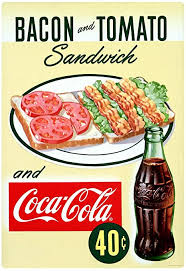 Amazon Com Coca Cola Bacon Tomato Sandwich Wall Decal 1950s Diner 16 X 24 Vintage Style Kitchen Arts Crafts Sewing
