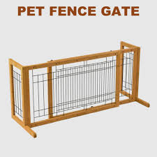 Adjustable Wood Dog Gate Indoor Solid Construction Pet Fence Playpen Free Stand Pet Supplies Fences Exercise Pens
