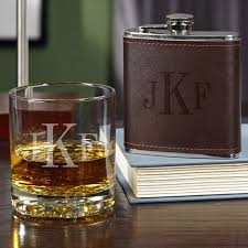 whiskey glass and flask set