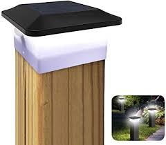 Solar Post Cap Lights With Motion Sensor Outdoor Waterproof Led Fence Post Lights Modern Design Deck Garden Landscape Light White Solar Lamp For 4 X 4 Pvc Vinyl Wood Black 1 Pack Amazon Com