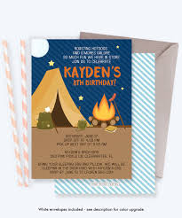 Camping Invitation Camping Invite Camping Party Invitation