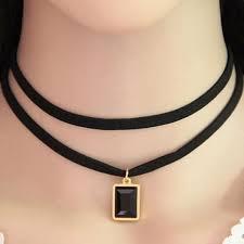 choker gemstone pendant necklace black