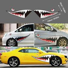 Amazon Com Fadzeco 1 Pair Of Car Stickers Shark Mouth Teeth Stickers Vinyl Carbon Fiber Car Shell Decal Car Side Door Decoration Home Kitchen