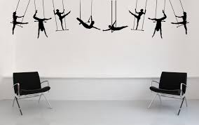 Carnival Circus Performance Large Trapeze Artists Silhouette Wall Decals Home Livingroom Cool Decor Wall Sticker Poster Wm 035 Wall Sticker Decorative Wall Stickerswall Decals Aliexpress
